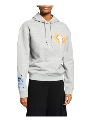 McQ by Alexander McQueen Cropped Flower Graphic Hoodie