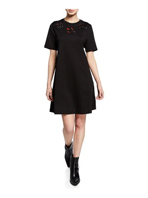 McQ by Alexander McQueen Embellished Swallow Short-Sleeve Cotton Babydoll Dress