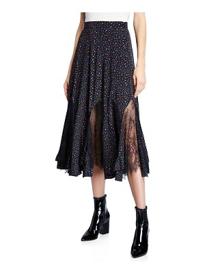 McQ by Alexander McQueen Floral Lace Panel Maxi Skirt