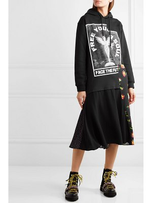 McQ by Alexander McQueen hooded printed cotton-jersey and crepe midi dress
