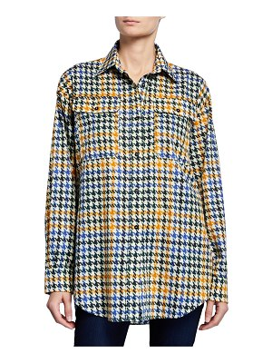 McQ by Alexander McQueen Houndstooth Button-Down Boyfriend Shirt