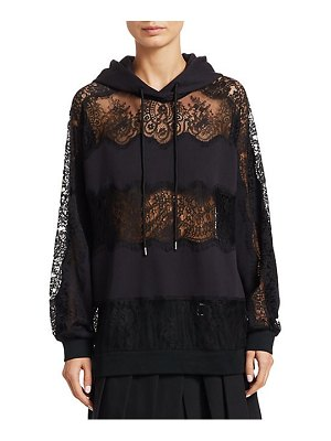 McQ by Alexander McQueen lace inset mixed media hoodie
