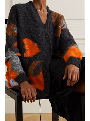 McQ by Alexander McQueen oversized intarsia brushed wool-blend cardigan
