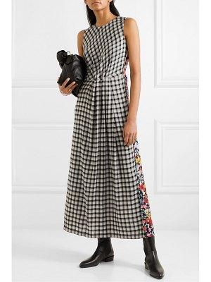 McQ by Alexander McQueen paneled checked flannel and floral-print crepe midi dress