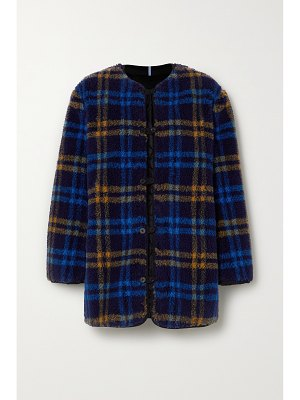 McQ by Alexander McQueen reversible apppliquéd checked fleece and quilted shell jacket