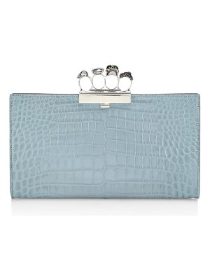 McQ by Alexander McQueen skull four-ring croc-embossed clutch