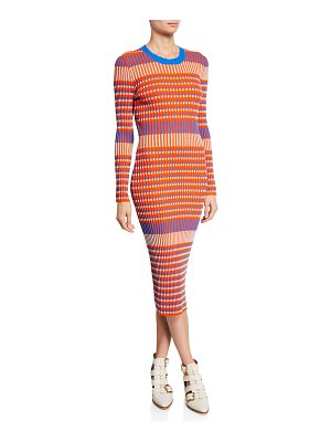 McQ by Alexander McQueen Striped Crewneck Long-Sleeve Dress
