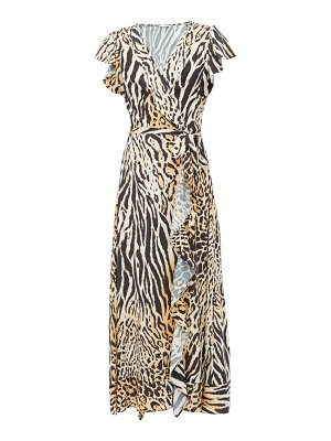 Melissa Odabash brianna animal print wrap poplin dress