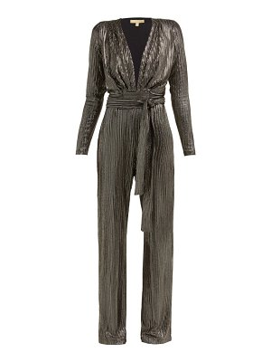 Melissa Odabash look 4 metallic stripe belted jumpsuit
