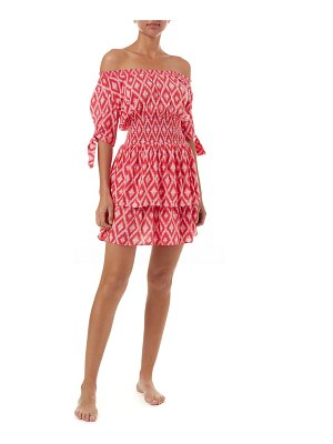 Melissa Odabash Camilla Printed Off-Shoulder Coverup Dress