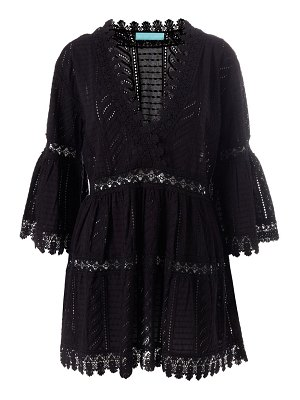 Melissa Odabash embroidered georgette bell-sleeve beach dress