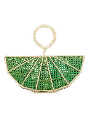 Mercedes Salazar Raffia Lime Wedge Clutch Bag