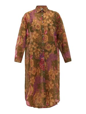 Mes Demoiselles amaranto floral-print cotton-blend shirt dress