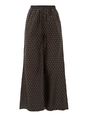 Mes Demoiselles biga polka-dot silk-satin wide-leg trousers