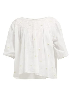 Mes Demoiselles bourgeon floral embroidered cotton blouse