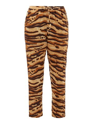Mes Demoiselles fatal zebra-print drawcord cotton trousers