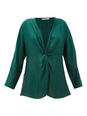 Mes Demoiselles twilight gathered silk-satin blouse