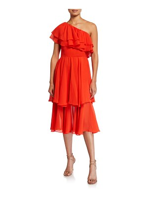 Mestiza New York Hannah One-Shoulder Tiered Ruffle Midi Dress