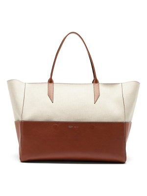 Métier incognito large linen and leather tote bag
