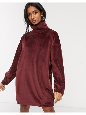 Micha Lounge brushed funnel neck sweater dress-brown
