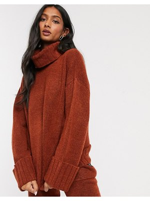 Micha Lounge deep rollneck sweater coord with chunky cuff-brown