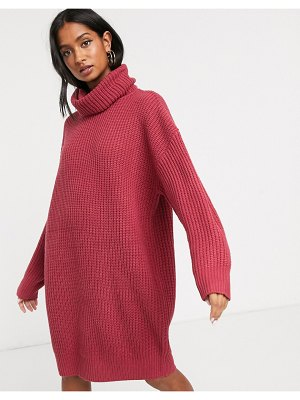 Micha Lounge heavy rib rollneck knitted dress with balloon sleeve-pink
