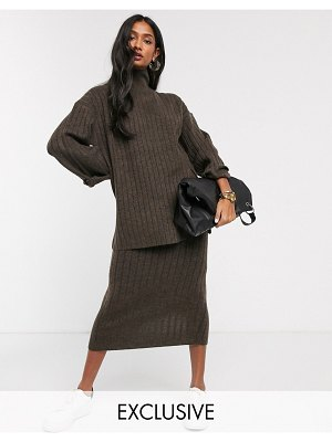 Micha Lounge high neck sweater with side splits in rib knit two-piece-brown