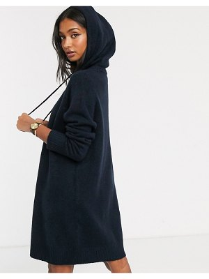 Micha Lounge luxe hooded knit sweater dress with tie detail-navy