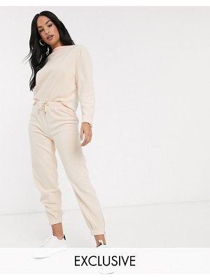 Micha Lounge relaxed sweatpants with zip cuffs in fleece two-piece-pink