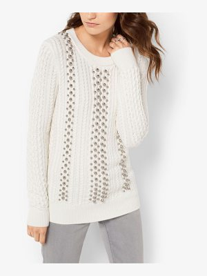 Michael Kors Beaded Cable-Knit Sweater