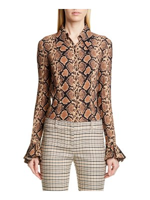 Michael Kors bell sleeve crushed georgette shirt