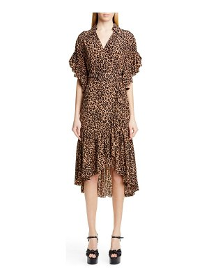 Michael Kors belted animal print silk crepe wrap dress