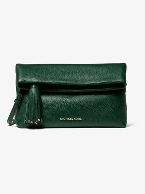 Michael Kors Brooklyn Pebbled Leather Fold-Over Clutch