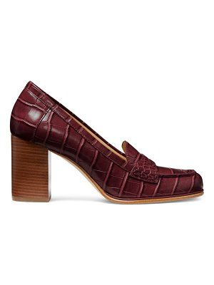 Michael Kors buchanan block-heel croc-embossed penny loafers
