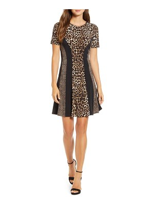 Michael Kors cheetah combo fit & flare dress