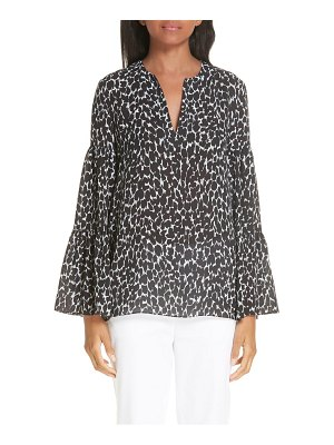 Michael Kors cheetah print bell sleeve silk georgette blouse