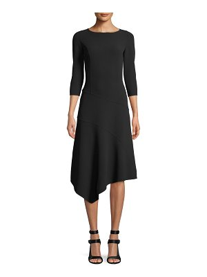 Michael Kors Collection 3/4-Sleeve Stretch-Wool Crepe Asymmetrical Dress