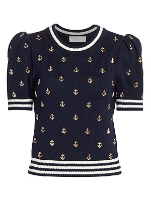 Michael Kors Collection anchor-embellished puff-sleeve cashmere sweater