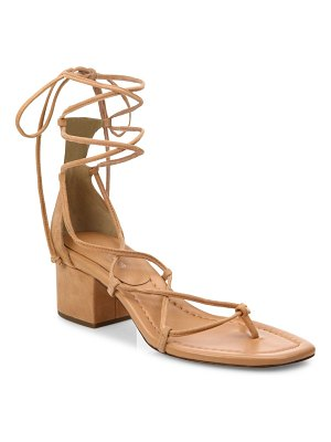 Michael Kors Collection Ayers Suede Lace-Up Block Heel Sandals