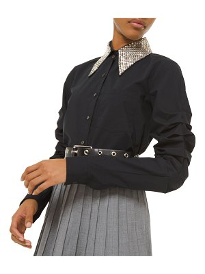 Michael Kors Collection Beaded-Collar Ruched-Sleeve Button Front Shirt