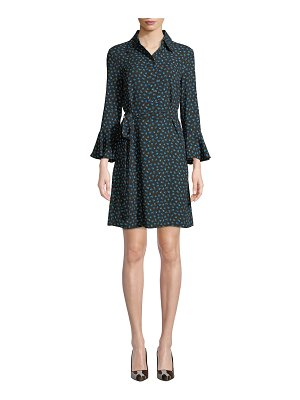 Michael Kors Collection Bell-Sleeve Button-Front Rosebud-Print Silk Georgette Dress