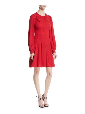 Michael Kors Collection Bow-Front Long-Sleeve Fit-and-Flare Silk Georgette Dress