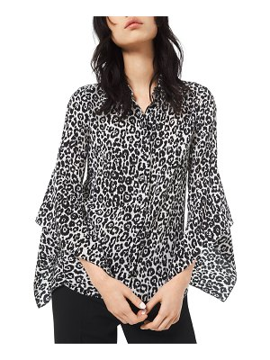 Michael Kors Collection Cheetah-Print Crushed Bell-Sleeve Shirt