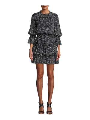 Michael Kors Collection Cheetah-Print Silk Chiffon Tiered Dance Dress