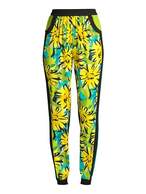 Michael Kors Collection contrast silk floral track pants
