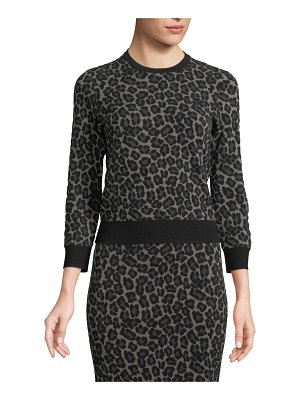 Michael Kors Collection Crewneck Leopard-Print Stretch-Viscose Pullover Top