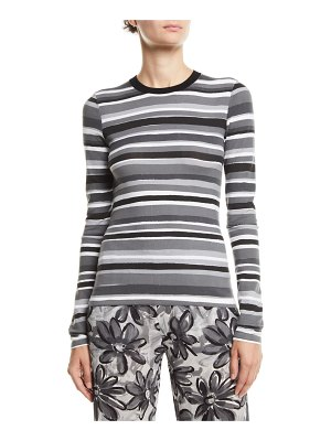 Michael Kors Collection Crewneck Long-Sleeve Striped Stretch-Viscose Tee