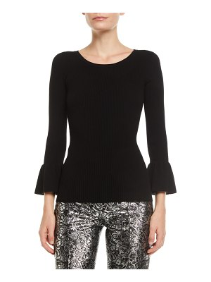 Michael Kors Collection Crewneck Ruffle-Cuff Stretch-Viscose Ribbed Top