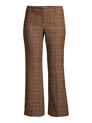 Michael Kors Collection cropped plaid wool flare leg trousers