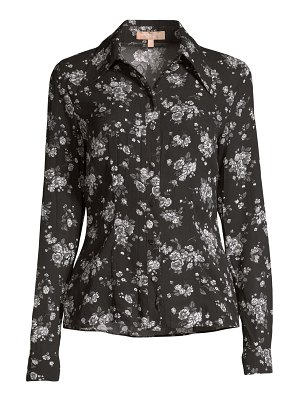 Michael Kors Collection crushed floral silk button-down shirt